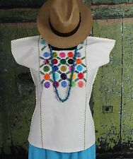 Hand Embroidery Flowers Cotton Huipil Zacatepec Oaxaca Mexico Hippie Boho Fiesta