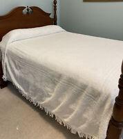 Vintage White Chenille Bedspread Queen Star Medallion 110 X 90 Flawed