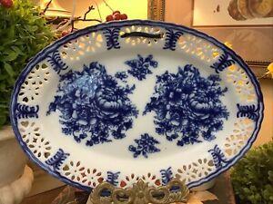 Blue & White~Flow Blue~Floral Decorative Oval Plate~w/Ribbon~FREE SHIP~Pierced~