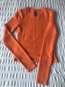 Ladies H&M Orange Fleece Jumper Size XS