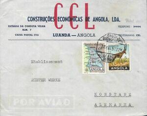 ANGOLA PORTUGAL ✱ 1957  COVER - LUANDA TO KONSTANZ - GERMANY ✱ WWF gazelle