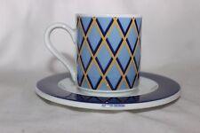Vintage Arzberg Sieger Design Coffee Demi Tasse avec Soucoupe Geometric Blue