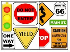 Road Signs Wall Sticker Decal Street Sign Appliques for Kids Rooms, New, Free Sh