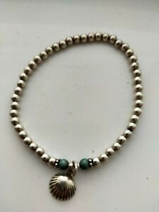 Annie haak Silver She'll And Turquoise Boho Bracelet