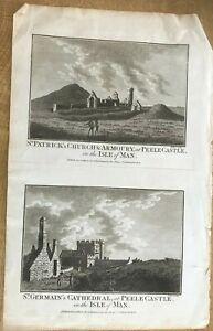 ANTIQUE PRINT PEEL CASTLE ST PATRICKS CHURCH ST GERMAIN CATHEDRAL TEXT 1760 HOGG