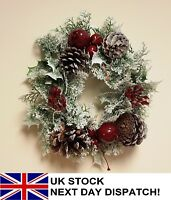 26cm Artificial Mini Christmas Wreath Snow White Berries Holly Ivy Fern Foliage