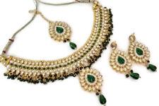 Indian Ethnic Gold Plated Kundan Green Fashion Bridal Jewelry Necklace Set