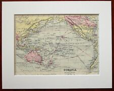 Oceania, Australasia, Pacific Ocean - Antique c.1900 Mounted Colour Map