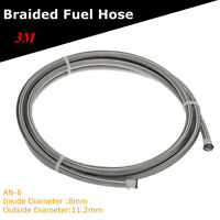 AN -6 AN6 5/16'' 8MM Stainless Steel Braided Pipe Fuel Oil Coolant Hose 3