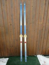 """New listing Vintage Interesting Wooden 73"""" Skis Blue White Color Finish Great for Decoration"""