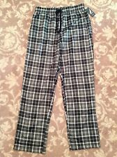 NAUTICA mens fleece pajama lounge pants MEDIUM black & gray plaid w/ drawstring