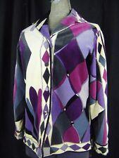 EMILIO PUCCI Vtg 60s Cream/Purple/Black Abstract Velvet Silk Blouse-Bust 37/XS