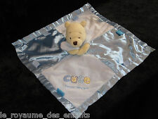 Doudou carré plat bleu satin Winnie l'Ourson Disney Cute Special little boy