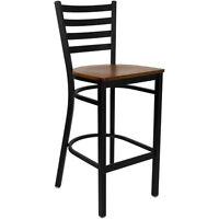 "Home Bar Stool - Ladder Back Design - 30"" High Pub Seat - Mahogany/Cherry Finish"