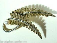 FAHRNER vergoldete Silber Markasit Perle Art Deco Brosche