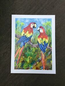 """Impressionism Painting Of Macaw Parrots On Canvas 16""""x 12"""""""