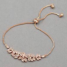 ROSE GOLD Plated Leaf Clear Cubic Zirconia CZ Wedding Bracelet Adjustable 09503