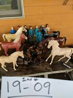 Johnny West Marx Toys vintage lot 8 figures 6 horses pile of accessories 1970s