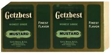 GETZBEST, Vintage Getz Brothers, Mustard *AN ORIGINAL 1920's TIN CAN LABEL* 796