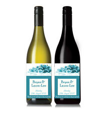 Personalised Blue Flower Wine Bottle label Wedding Gifts Thank you present x 12
