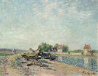 Loing Canal Alfred Sisley Impressionism Painting Print on Canvas Giclee Repro SM