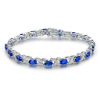 Oval-cut 6x4mm Created Blue Sapphire Adjustable Tennis Bracelet in 925 Silver