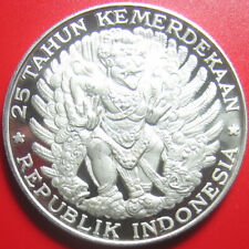 1970 INDONESIA 750 RUPIAH SILVER PROOF GARUDA BIRD RARE! LEGEND SHIFTING ERROR