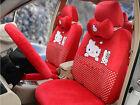 18pcset Cartoon Super Plush Hello Kitty Polka Dot Car Universal Car Seat Cover