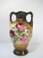 """Vintage Austria Brown Pink Gold Floral Ceramic Vase 6.5"""" Tall"""