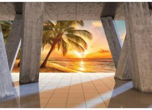 Vlies Fototapete 3D EFFEKT STRAND Terrasse Natur Ausblick Palmen Wohnzimmer 983