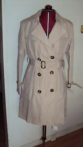 Women's Beige Trench Coat / Jacket Lined With African Ankara Print - UK 10-12