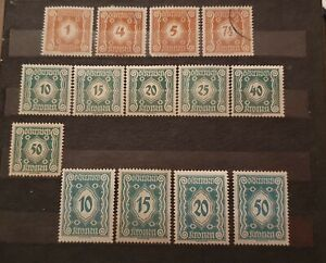 Austria 1921 Postage Due 14 Value MH A209