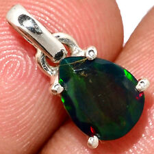 Faceted Chalama Black Opal 925 Sterling Silver Pendant Jewelry AP191533