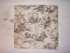"Lee Jofa ""Seasons Silk"" romantic toile fabric remnant, color taupe"