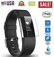 3-Pack HD Clear Full Coverage Screen Protector Film For Fitbit Charge 2