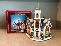 St. Nicholas Square Lighted Church Country Chapel Christmas Village 2005 Decor