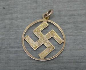 Edwardian 9ct Rose/Yellow Gold Good Luck Pendant Fob or Charm,1.7cm