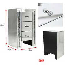 Mirrored Bedside Tables 3drawer Storage Bedside Table Bedroom Cabinet Nightstand