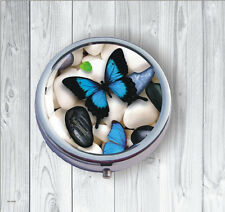 BUTTERFLY BLUE WINGS ON WHITE PEBBLES PILL BOX ROUND -fli9Z