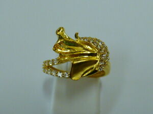 Ladies Stunning 22ct Gold Fancy CZ Ring - Size L