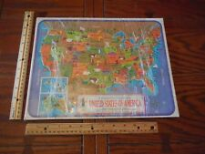 VINTAGE 1968 Children Frame Tray Puzzle Map United States America 25 pieces