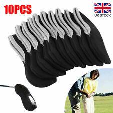 10pcs Neoprene Iron Head Covers Golf Club Black Protector Set Golf Accessories