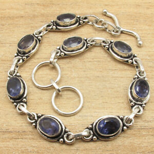 "925 Silver Plated 8"" BRACELET ! Beautiful IOLITE Gemstone HANDCRAFTED Present"