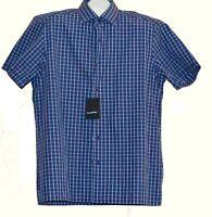Ermonegildo Zegna  Plaid  Blue Men's Cotton Polo Shirt Size XL $385