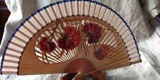 Antique Wooden Cloth Hand Fan Handpainted Flowers Open Work Box