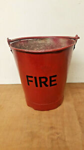 Vintage galv bucket. Painted red with FIRE on. Ideal planter or kindling holder