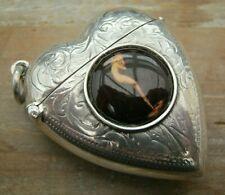 English Hallmarked Sterling Silver & Enamel Erotic Risque Vesta Case Match Safe