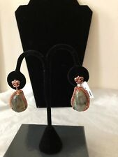 Dallas Prince Rose Gold over Sterling Silver Labradorite Earrings Fleur de Lys!
