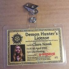 Supernatural ID Badge-Demon Hunter's License Claire Novak costume cosplay