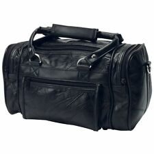 "12""  Black Leather Mens Toiletry Bag Shaving Kit Travel Dopp Organizer"
